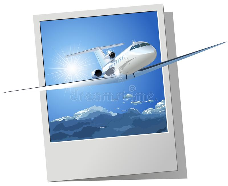 Aeroplano dell'annuncio pubblicitario di vettore illustrazione di stock