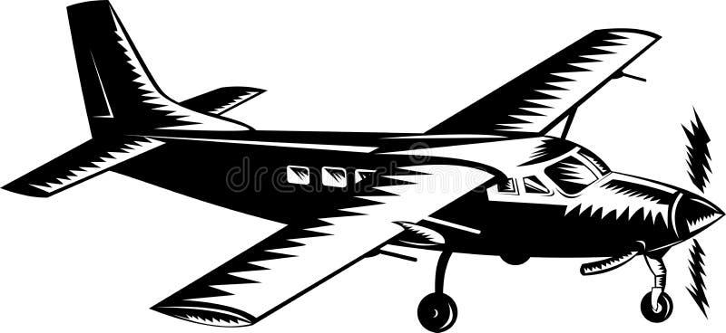 Aeroplano dell'elica durante il volo royalty illustrazione gratis