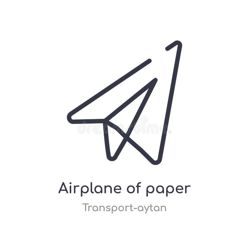 aeroplano dell'icona di carta del profilo dello strato linea isolata illustrazione di vettore dalla raccolta di trasporto-aytan c royalty illustrazione gratis