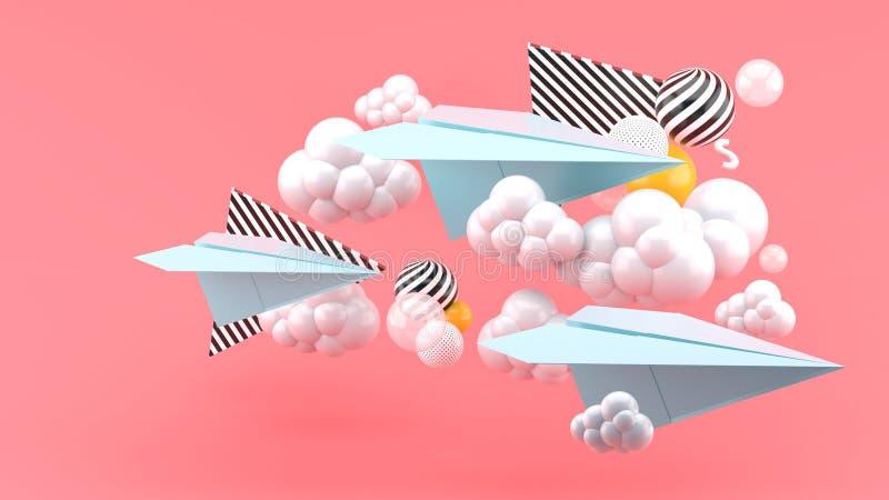 Aeroplano di carta blu in mezzo delle nuvole su fondo rosa r illustrazione di stock