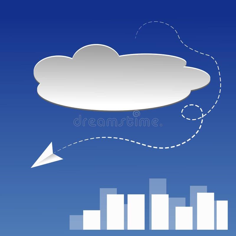Aeroplano di carta nel cielo illustrazione di stock
