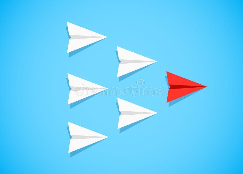 Aeroplano di carta rosso come capo fra gli aeroplani bianchi illustrazione vettoriale