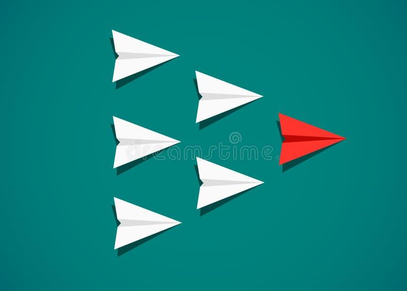Aeroplano di carta rosso come capo fra gli aeroplani bianchi illustrazione di stock
