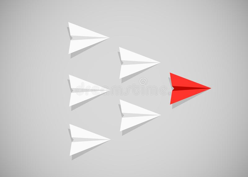 Aeroplano di carta rosso come capo fra gli aeroplani bianchi Direzione, lavoro di squadra, concetto di motivazione illustrazione vettoriale