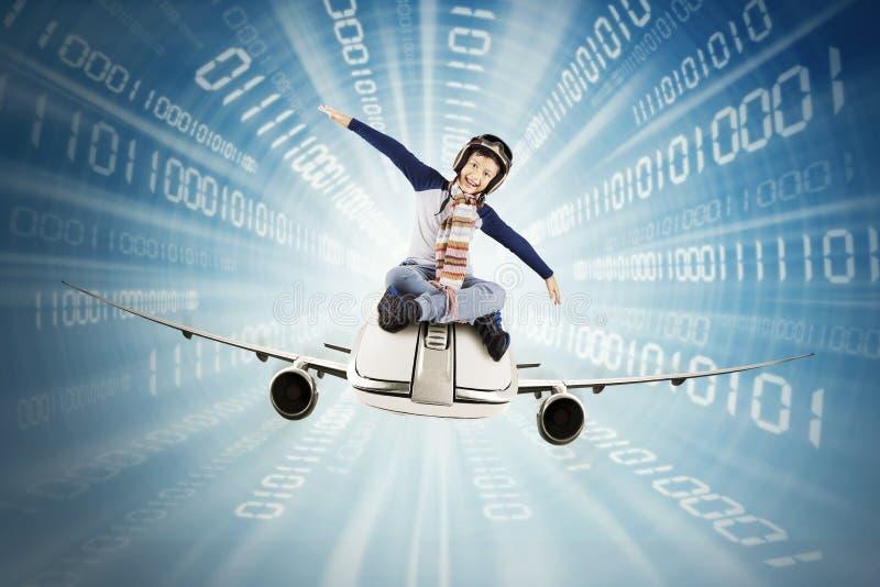 Aeroplano di guida del ragazzo dentro il codice binario illustrazione vettoriale