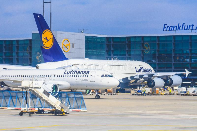 Aeroplano di Lufthansa fotografia stock libera da diritti
