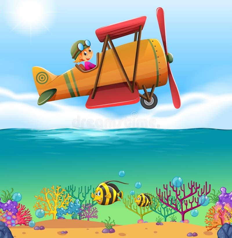 Aeroplano di volo della ragazza sopra l'oceano illustrazione di stock