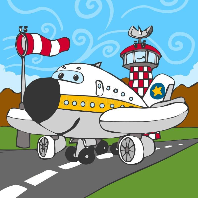 Aeroplano divertente sulla pista di atterraggio e sulla torre di controllo royalty illustrazione gratis