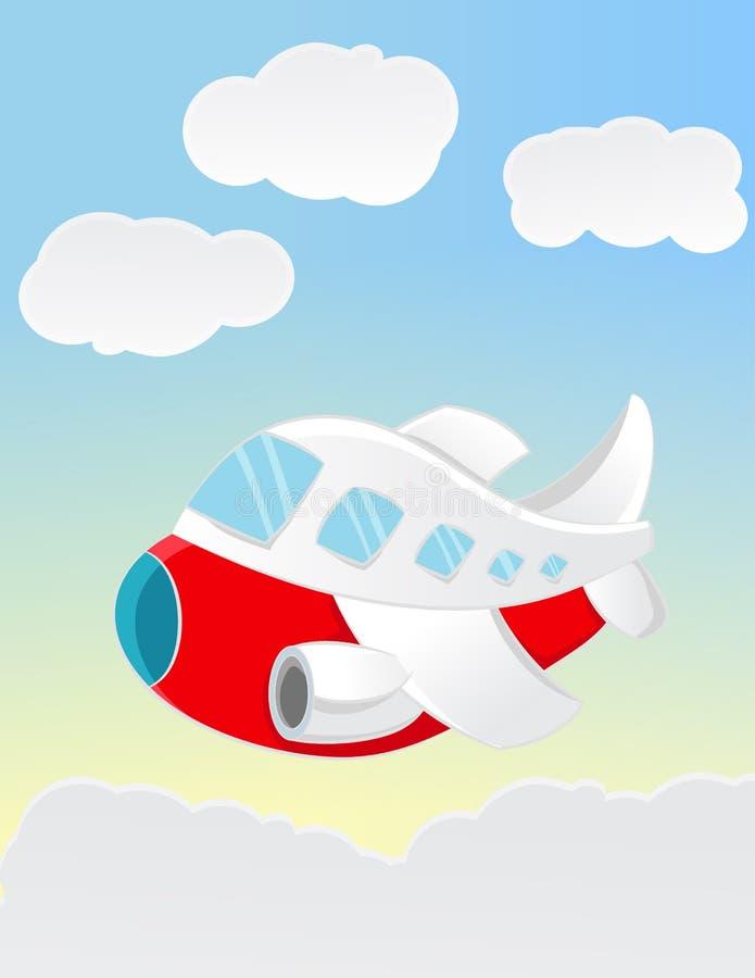 Aeroplano divertido de la historieta ilustración del vector