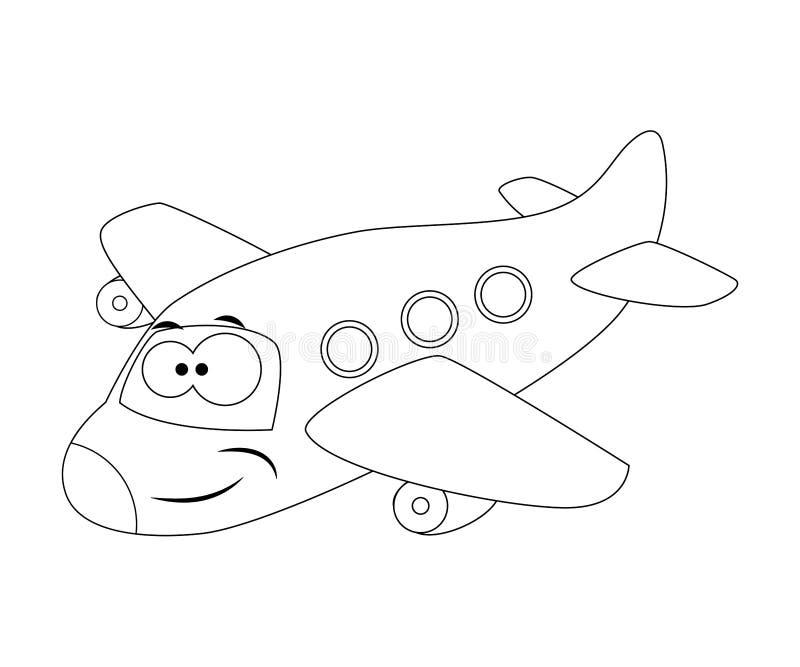 Aeroplano divertido descolorido de la historieta Ilustración del vector colorante stock de ilustración