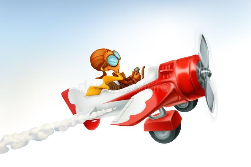 Aeroplano divertido, historieta del vector 3d libre illustration