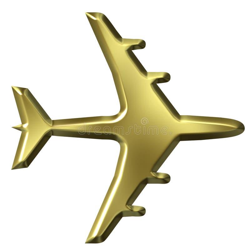 aeroplano dorato 3D royalty illustrazione gratis