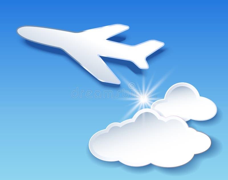 Aeroplano e cielo delle nuvole illustrazione di stock