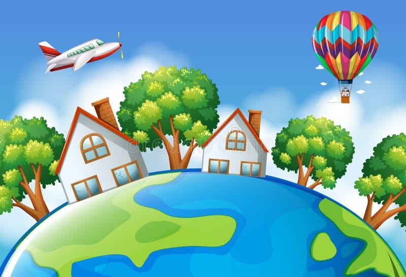Aeroplano e pallone che sorvolano il mondo illustrazione di stock