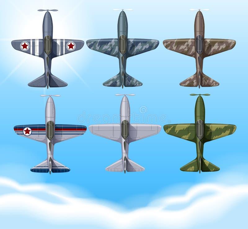 Aeroplano en diseño de los militares ilustración del vector
