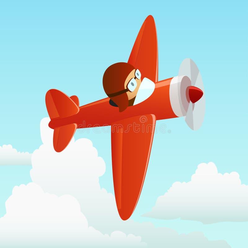 Aeroplano en el cielo de la nube con el piloto ilustración del vector