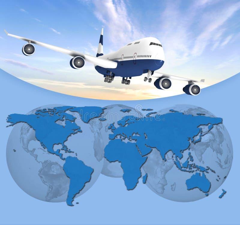 Aeroplano en fondo azul ilustración del vector