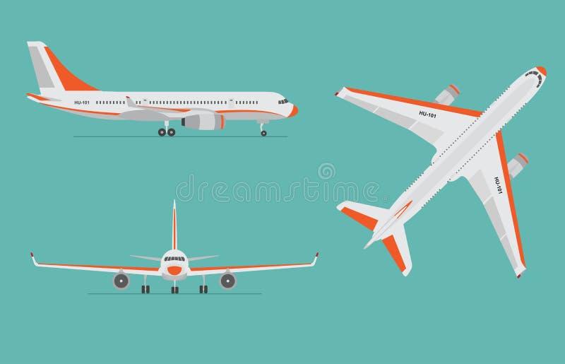 Aeroplano en fondo azul Avión de pasajeros en el top, lado, vista delantera ilustración del vector
