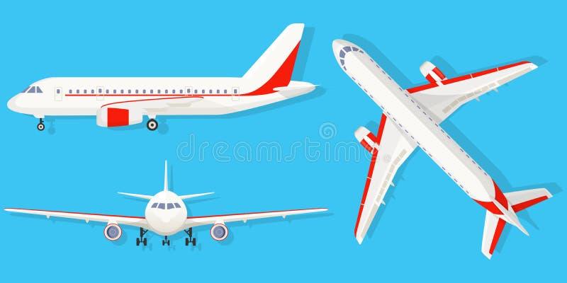 Aeroplano en fondo azul en diverso punto de vista Avión de pasajeros en el top, lado, vista delantera Estilo plano stock de ilustración