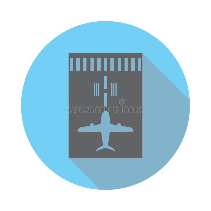 Aeroplano en icono de la pista Los elementos del aeropuerto en azul colorearon completamente el icono Icono superior del diseño g stock de ilustración