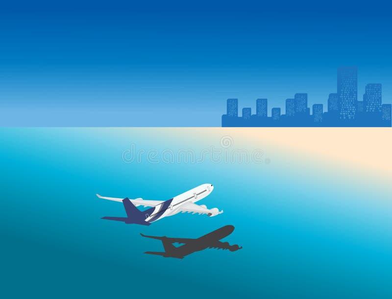 Aeroplano en la ubicación tropical del día de fiesta ilustración del vector