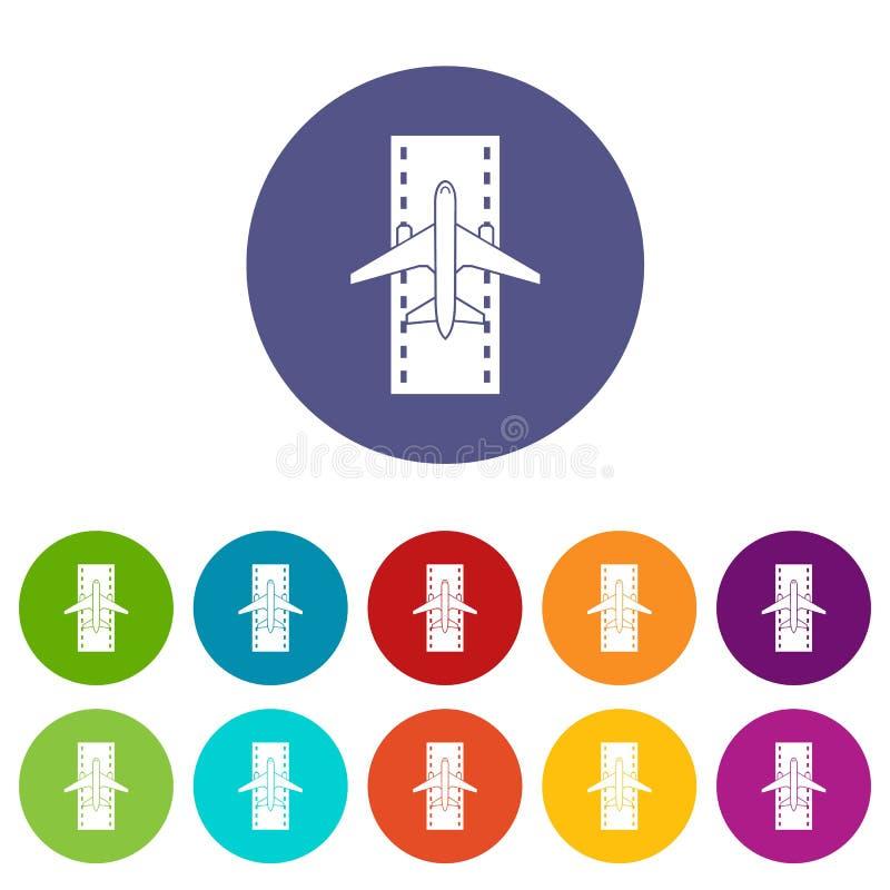 Aeroplano en los iconos determinados de la pista stock de ilustración