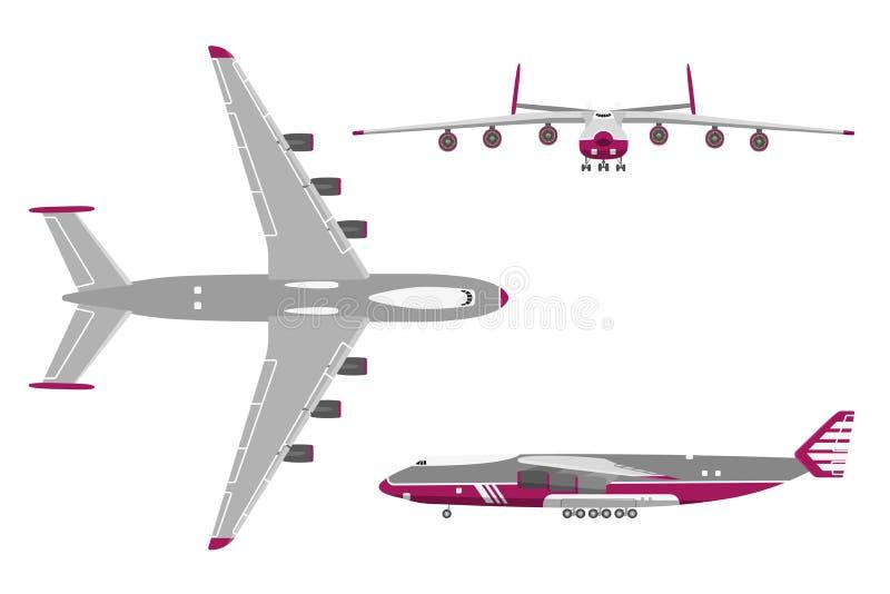 Aeroplano en un estilo plano en el fondo blanco Visión superior, frente VI stock de ilustración