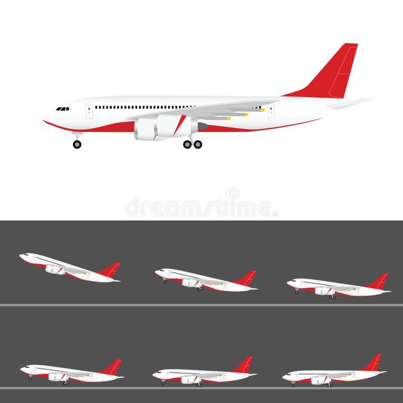 Aeroplano en vuelo determinado coloreado de la cola con el ejemplo de dos motores stock de ilustración