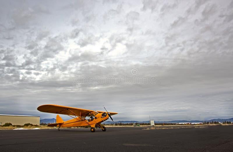 Aeroplano Giallo Del Cucciolo Con Il Cielo Drammatico Immagini Stock