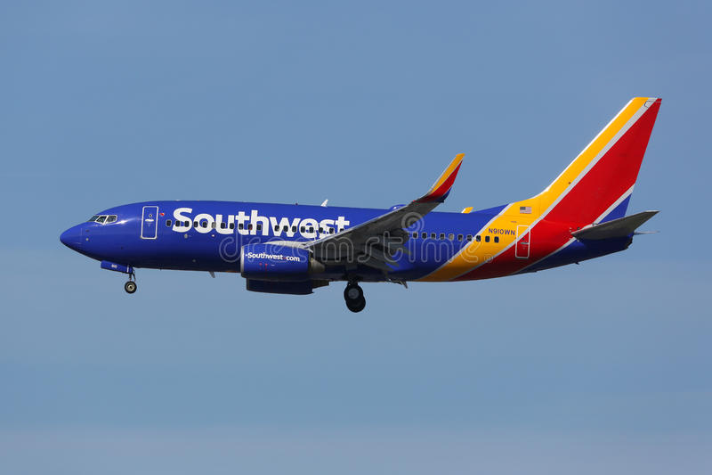 Aeroplano Los Ángeles Internati de Southwest Airlines Boeing 737-700 fotografía de archivo