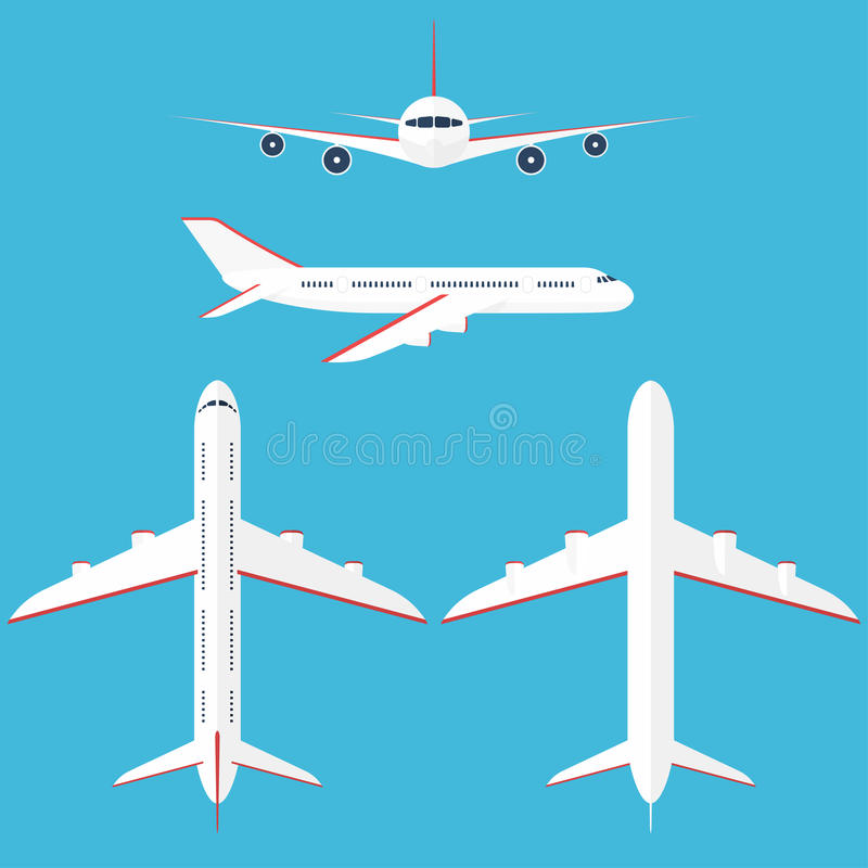 Aeroplano messo nel cielo Aeroplano commerciale nel lato, nella cima, nella parte anteriore e nella vista dal basso royalty illustrazione gratis