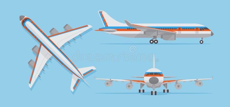 Aeroplano moderno del pasajero, avión de pasajeros en el top, lado, vista delantera Aviones del vector en estilo plano ilustración del vector