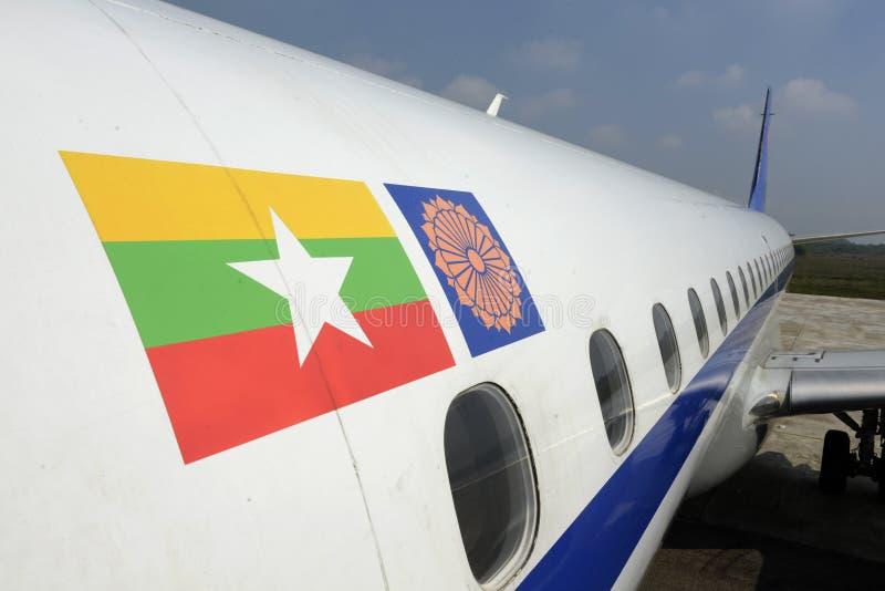 AEROPLANO MYANMA AIRWAYS DE ASIA MYANMAR fotografía de archivo libre de regalías