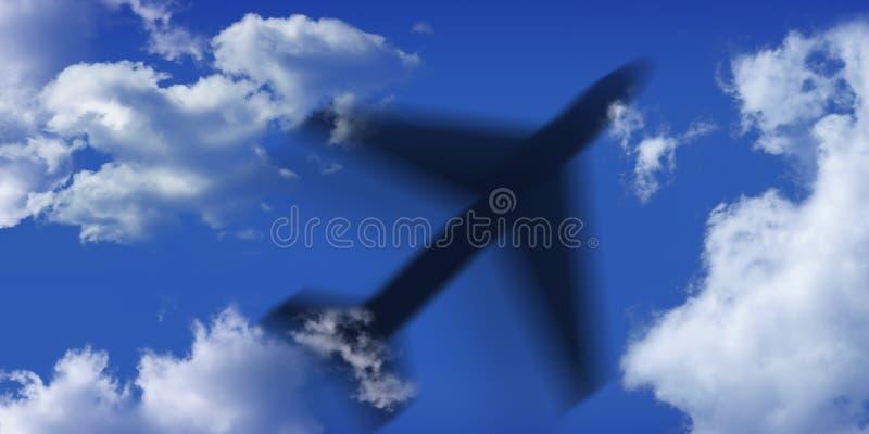 Aeroplano negro y cielo azul y nubes libre illustration