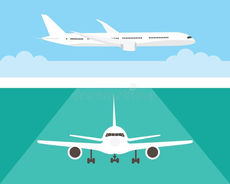 Aeroplano nel cielo e sulla pista Aereo di linea nella vista frontale laterale e Stile piano royalty illustrazione gratis