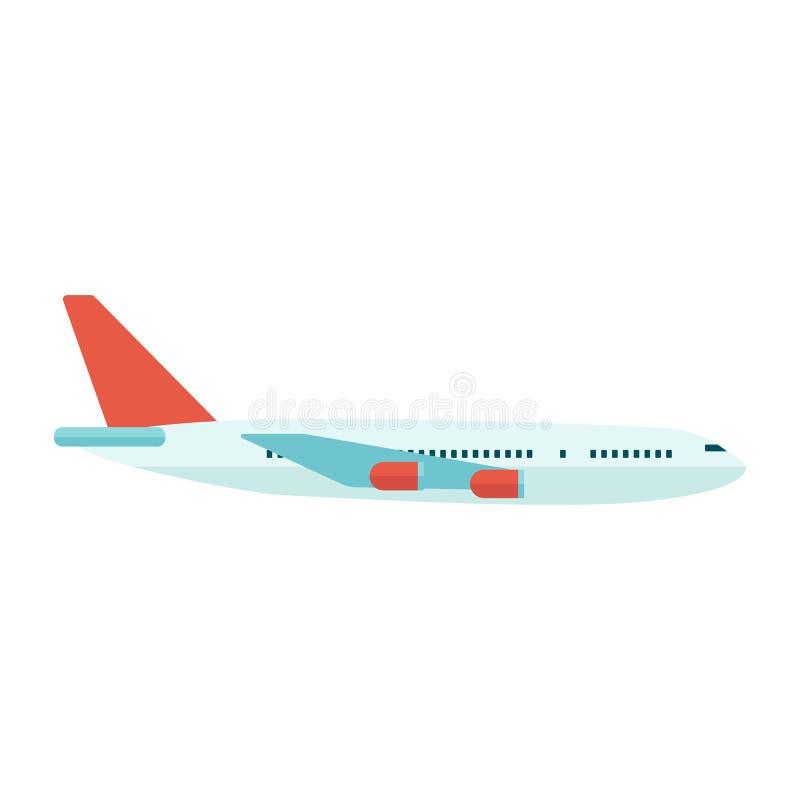 Aeroplano o avión de pasajeros del viaje del pasajero en el vector plano del ejemplo del vuelo stock de ilustración