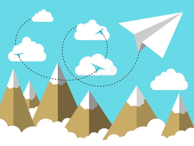 Aeroplano piano dell'illustrazione o volo piano della carta nel cielo sopra le nuvole e sopra il paesaggio della montagna illustrazione vettoriale