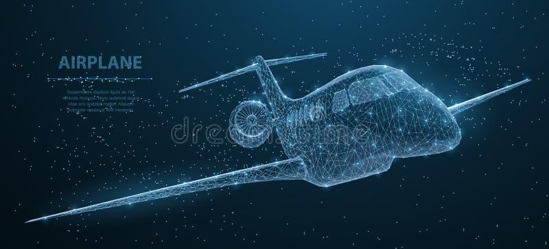 Aeroplano Aeroplano poligonale astratto del wireframe 3d su cielo notturno blu con i punti e le stelle illustrazione di stock