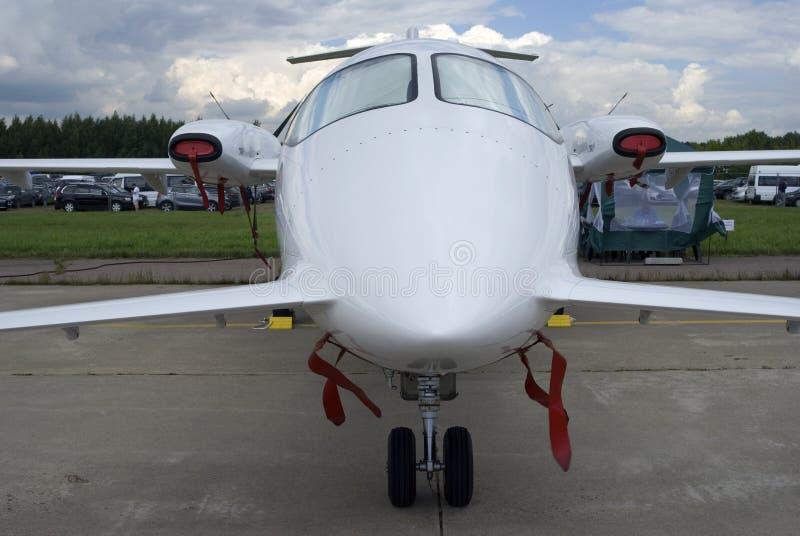 Aeroplano privado de la clase de negocios en el salón aeroespacial internacional MAKS-2017 de MAKS fotos de archivo libres de regalías