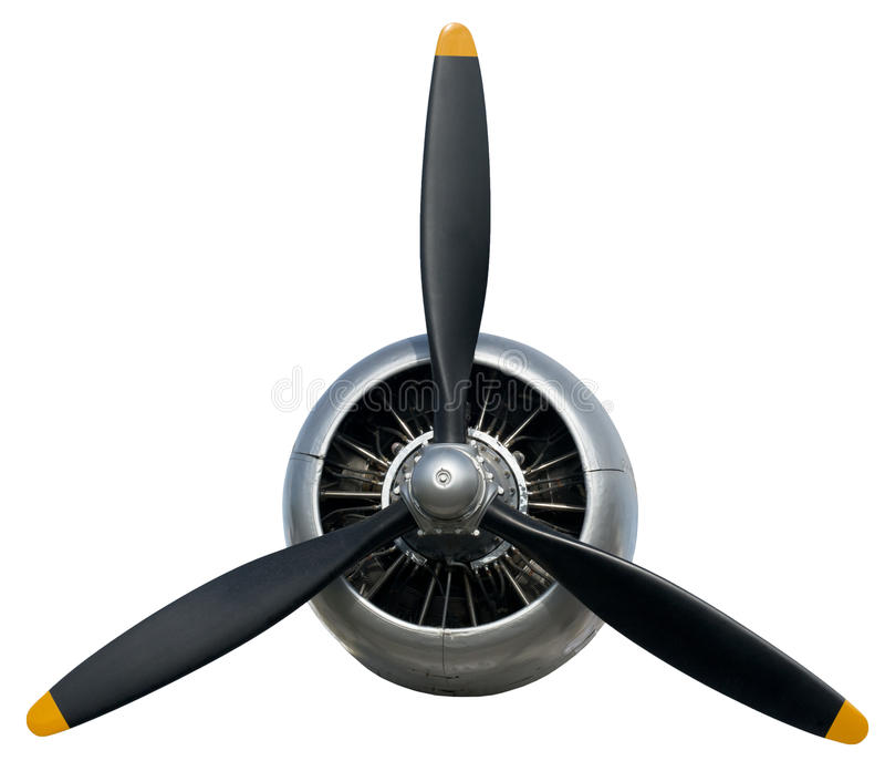 Aeroplano Propleller, volo, aviazione, motore, isolato fotografia stock