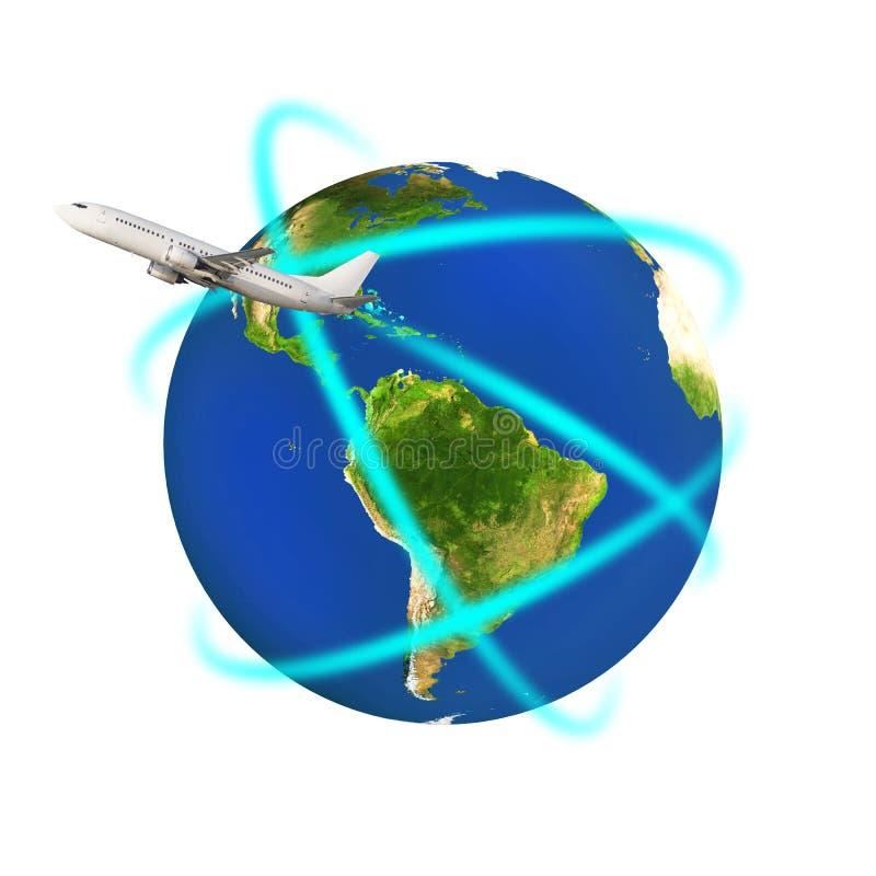 Aeroplano que circunda una tierra colorida ilustración del vector