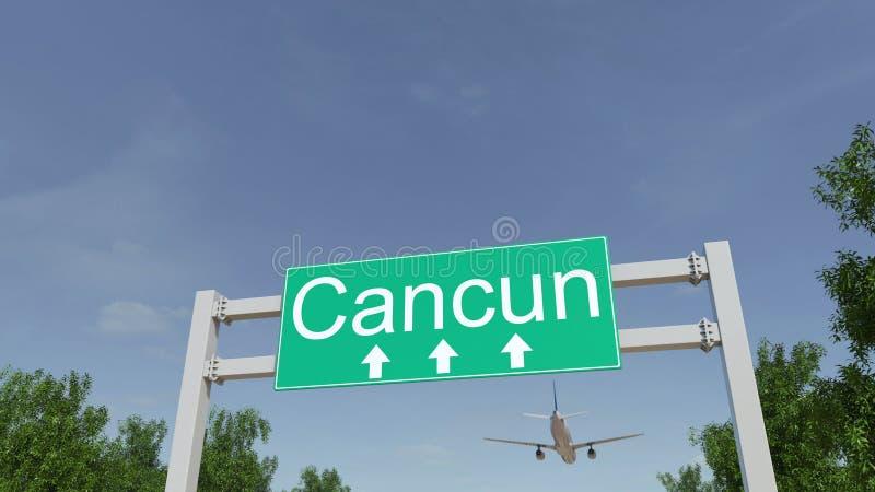 Aeroplano que llega al aeropuerto de Cancun El viajar a la representación conceptual 3D de México imágenes de archivo libres de regalías