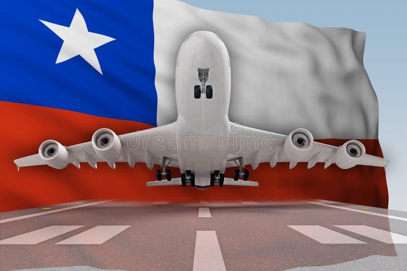 Aeroplano que saca contra la perspectiva de la bandera Chile fotos de archivo