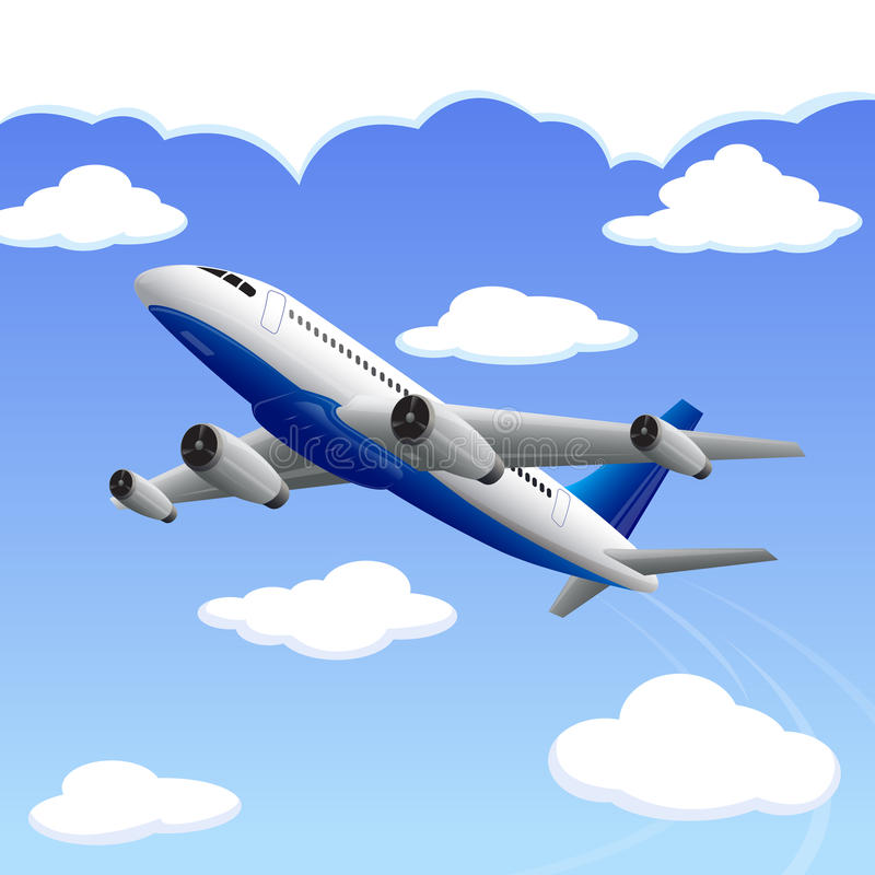Aeroplano que viaja a su destino stock de ilustración