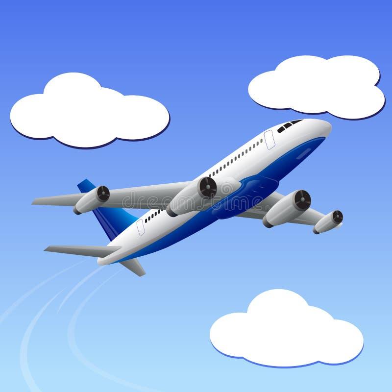 Aeroplano que viaja a su destino ilustración del vector