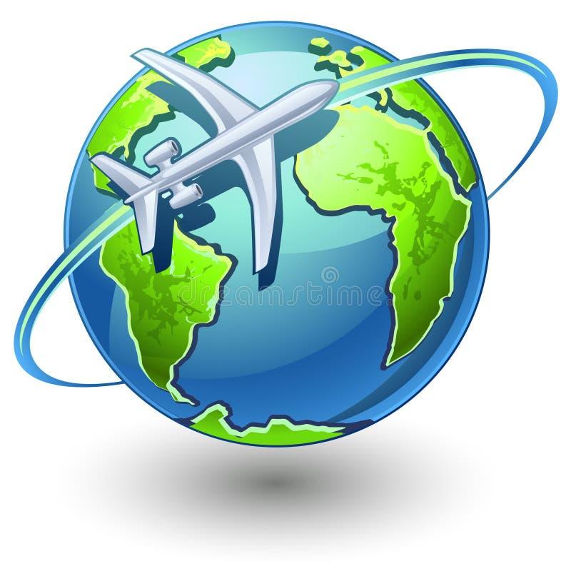 Aeroplano que vuela la tierra libre illustration