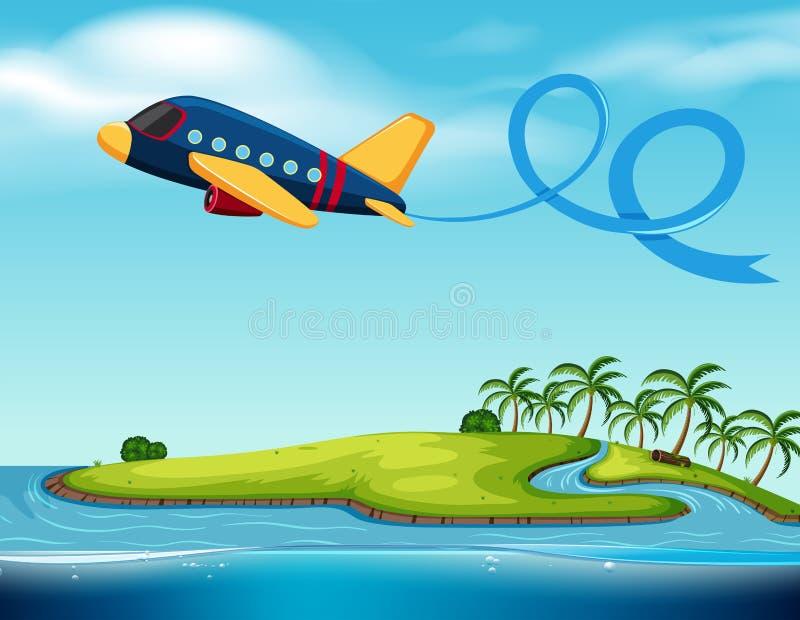 Aeroplano que vuela sobre la isla ilustración del vector