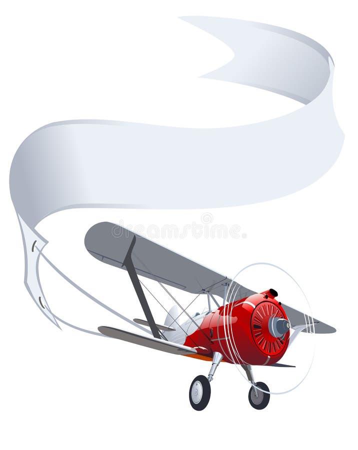 Aeroplano retro con la bandera stock de ilustración