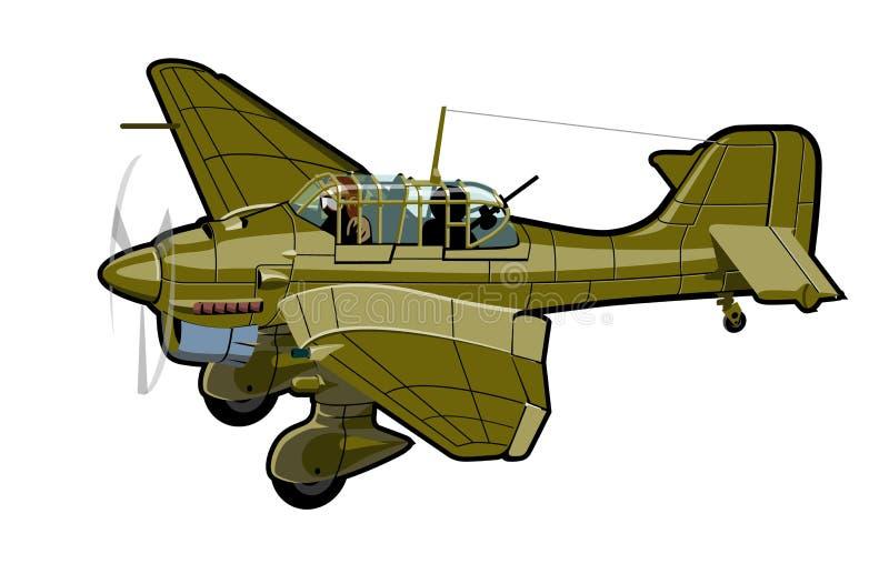Aeroplano retro de la historieta stock de ilustración