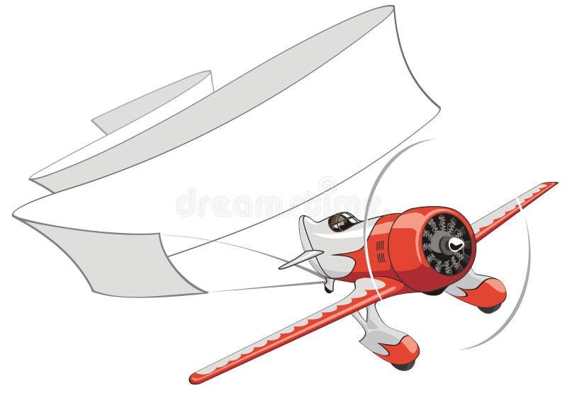 Aeroplano retro del vector con la bandera en blanco ilustración del vector